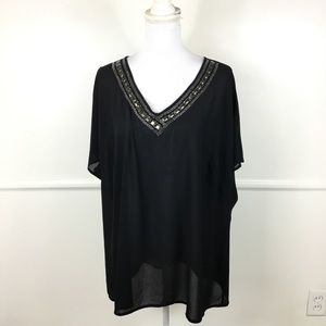 Lane Bryant Black Sheer Embellished Cold Shoulder